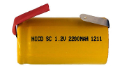 Sub-C 2200 mAh NiCd Rechargeable Battery with Tabs