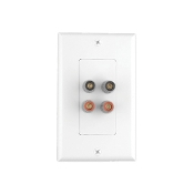 2 Pair Binding Posts Wall Plate
