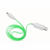 3' LED USB A to Micro USB Cable - Green