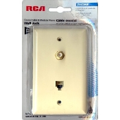 RJ11 (6P4C) & Coaxial F-Type (Ivory Plastic) (Prewired)